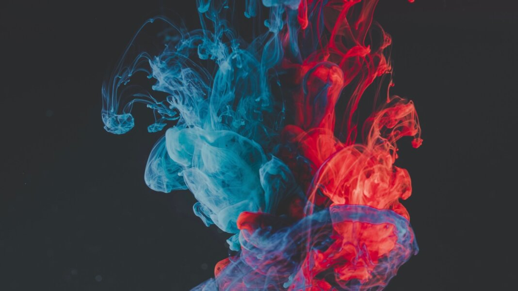 tech stories blue red smoke dark background