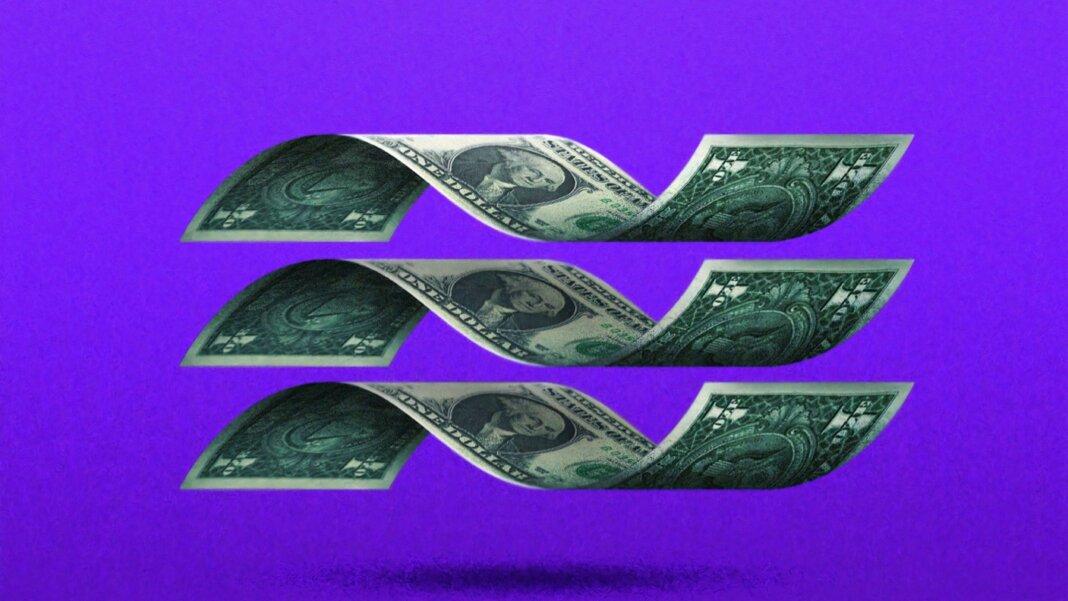 bitcoin cashless future dollar bills purple background