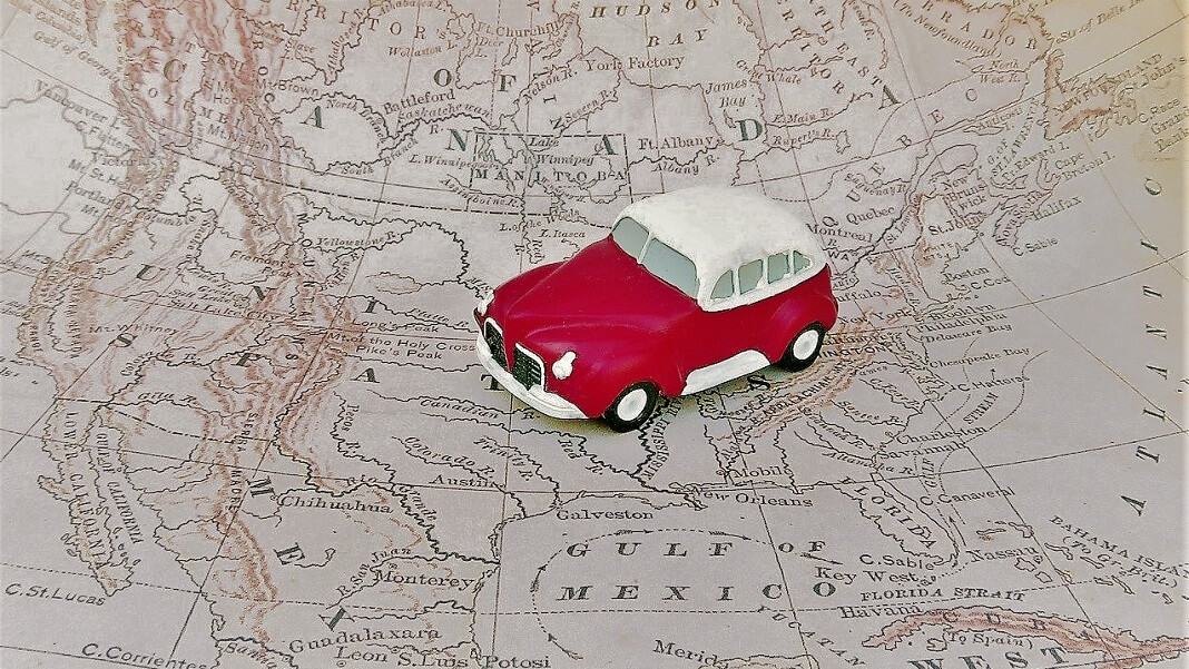 red car on map electric vehicle batteries CATL
