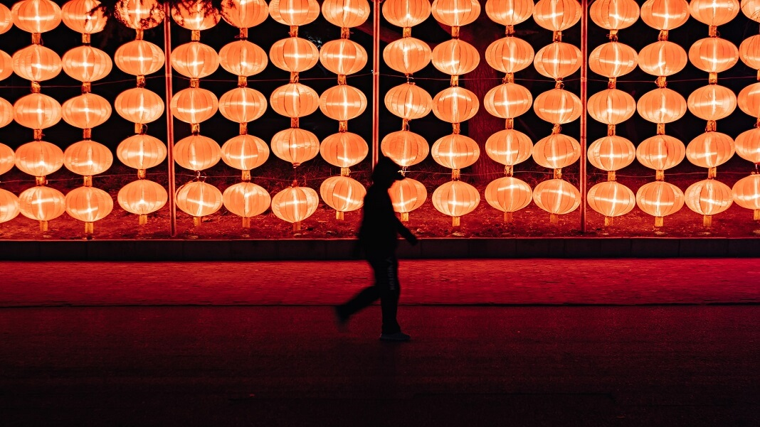 China artificial intelligence AI lanterns red