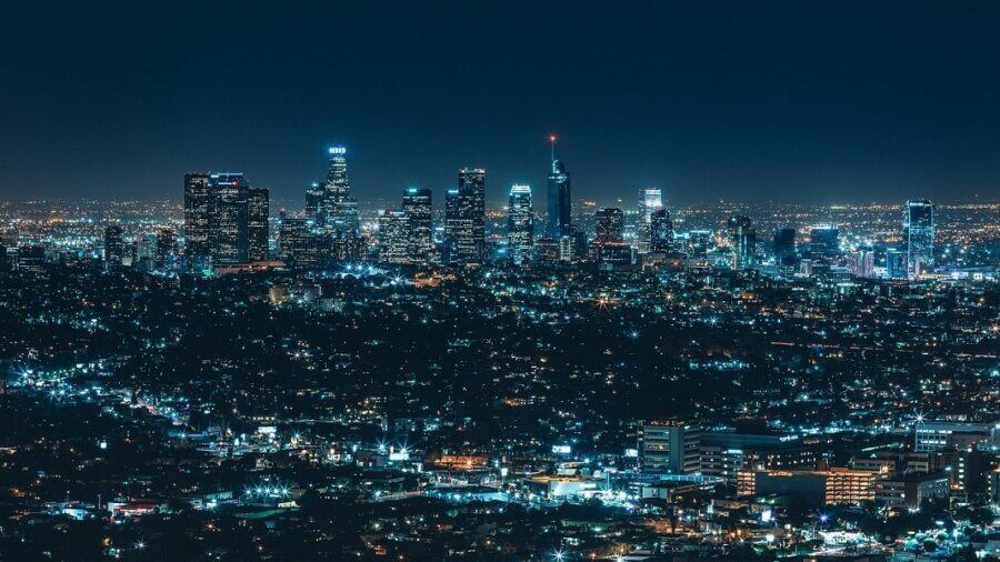big city lights at night future technology pandemic