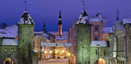 Estonia Tallinn old city night view