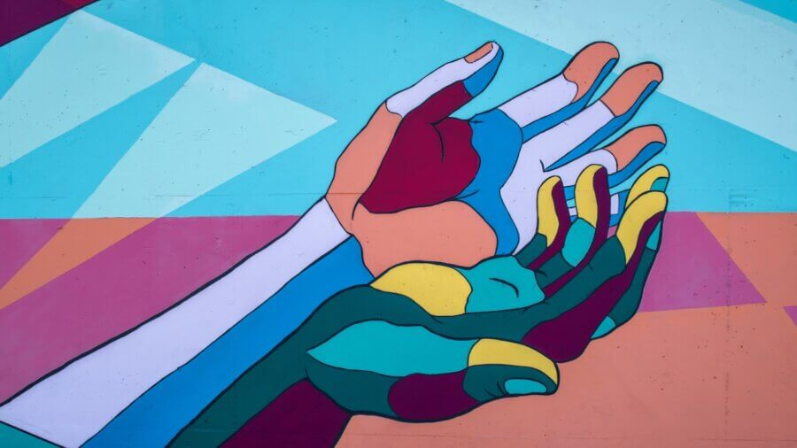 future health collective colorful hands mural