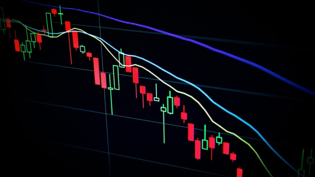 algorithm AI trading stock market trend lines chart computer display