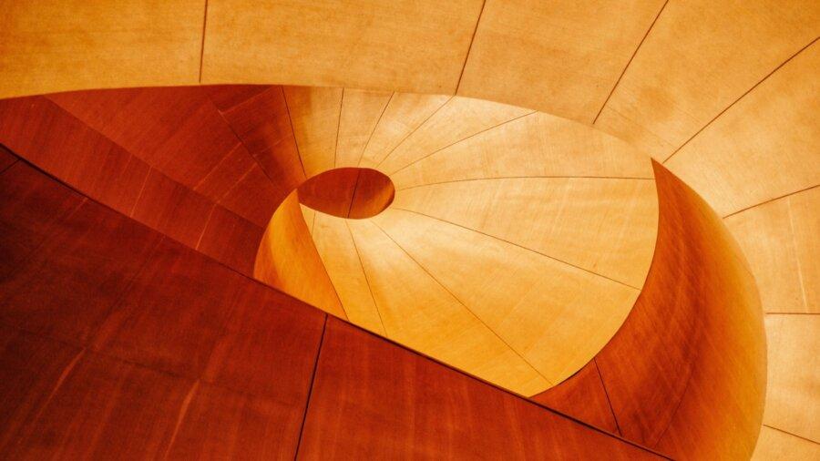 lab-grown plants organic wood spiral architecture