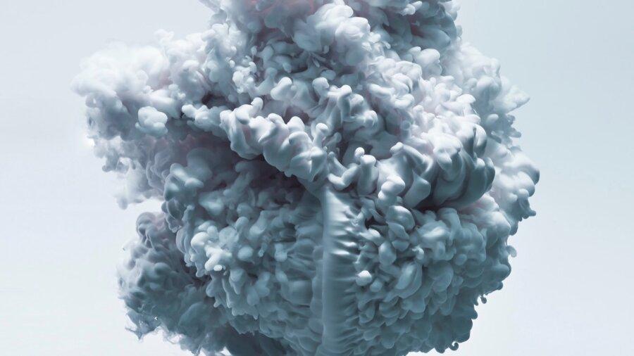 ai learning white blue liquid ink cloud swirl water