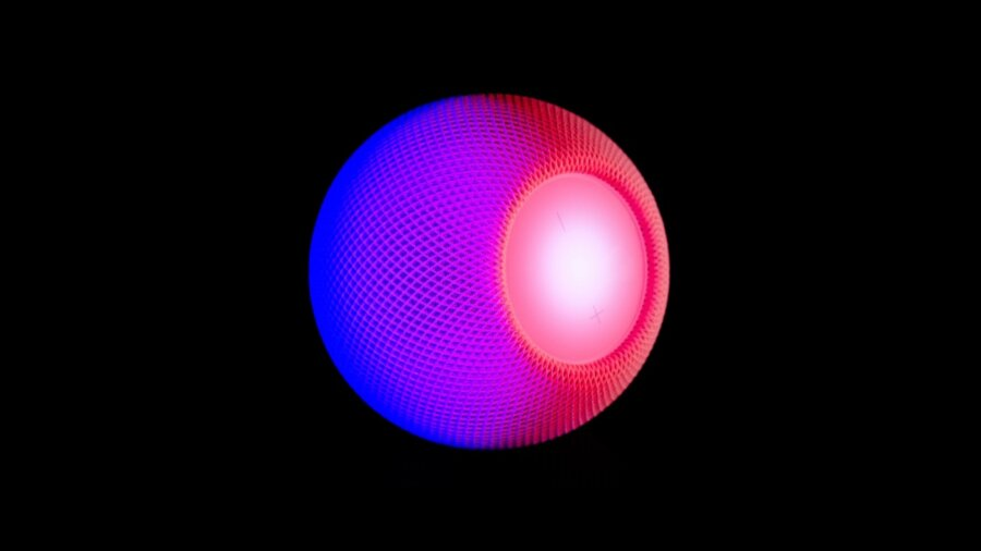tech stories apple home pod smart speaker purple pink black background
