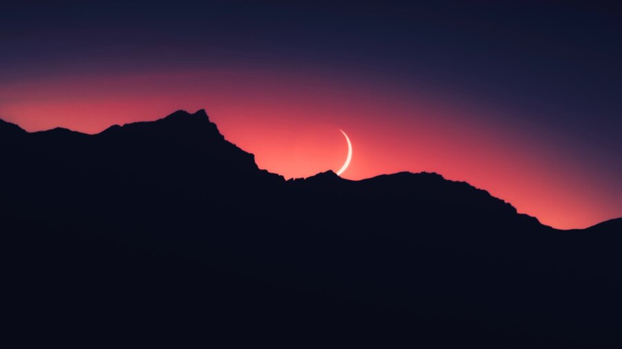 tech stories mountain sillhouettes fingernail crescent moon red sky