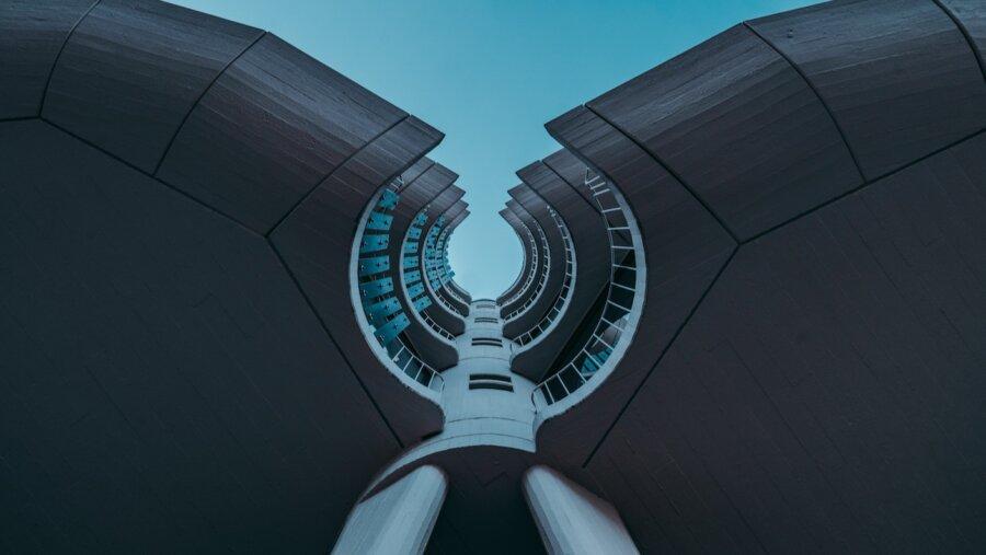 tech stories blue sky circle modern architecture building