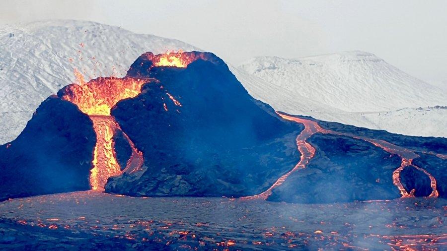 drone footage iceland volcano eruption