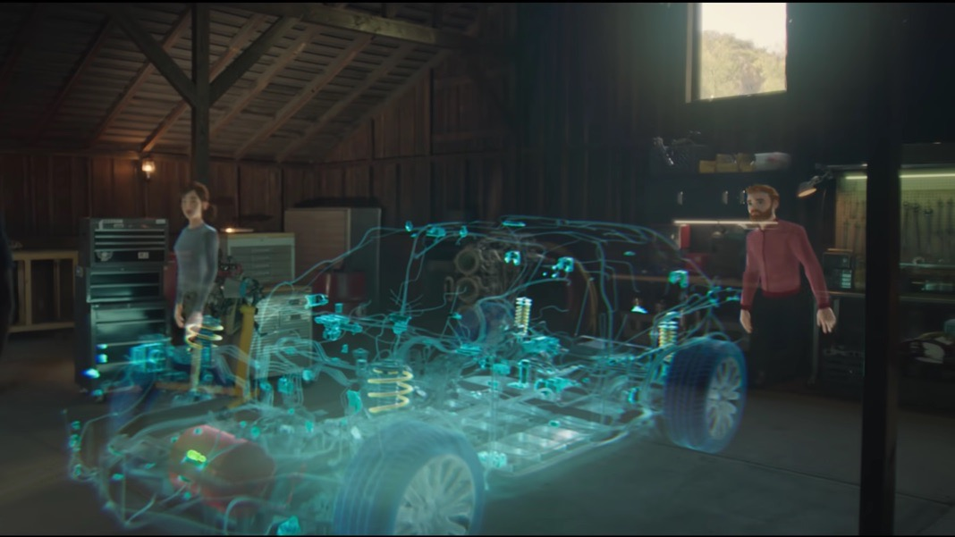 augmented reality mixed reality work microsoft holographic car mesh