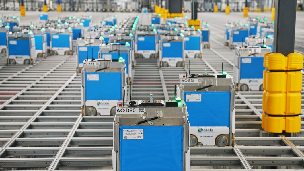 robots automation warehouse Kroger Ocado