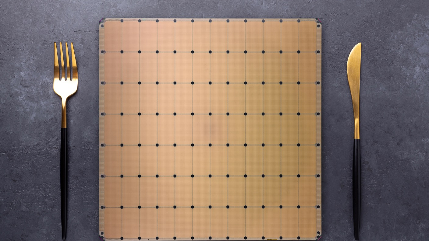 The Cerebras Systems Wafer Scale Engine is about the size of a big dinner plate. All that surface area enables a lot more of everything, from processo