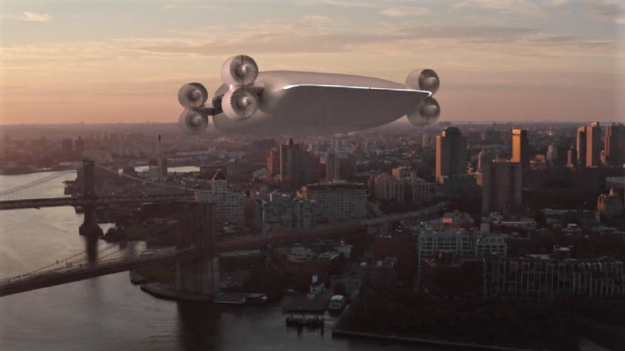 drone bus flying taxi drones city skyline