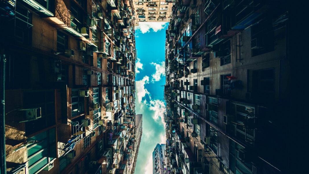 tech stories apartment building architecture city urban blue sky