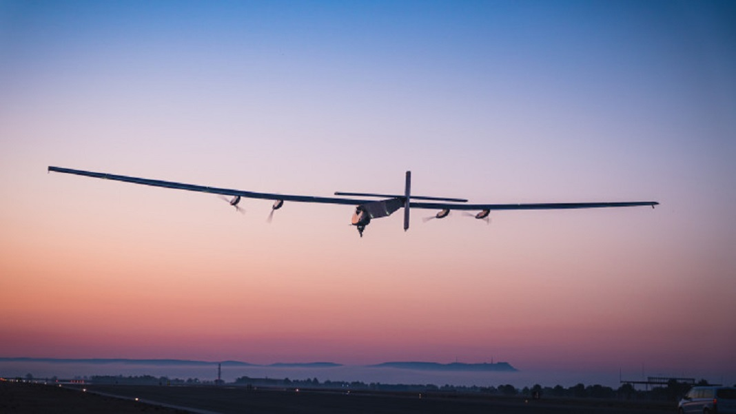 Skydweller solar aicraft plane flying into sunset