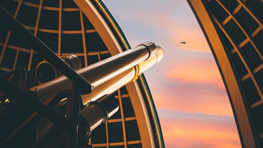 awesome tech stories telescope dusk sky helicopter